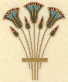 Egyptian Lotus Motifs Egyptian bouquet br 4 51w x