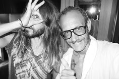 Jared Leto promoting Eye Of Horus symbolism while posing with infamous occultist and fashion photographer Terry Richardson.