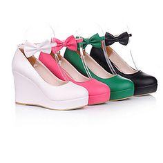 cuero de la PU de cuña 8 cm dulces zapatos de lolita 2015 – €25.64