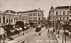 Postal n. 6, vista do Largo São Bento. Do lado esquerdo o Hotel d'Oeste e nas esquinas da rua Boa Vista com a São Bento, do lado direito o Grande Hotel Paulista e do direito o Hotel Rebecchino.