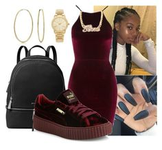 """Valentine's Day slay"" by harvin-shyla ❤ liked on Polyvore featuring MICHAEL Michael Kors, Oh My Love, Puma, Bling Jewelry and Michael Kors"