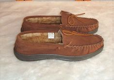 New Jack Frost Sz 11 Brown Suede Leather/Faux Sheepskin Lined Moccasin Slippers #JackFrost #MoccasinSlippers