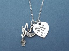 HOOKED ON YOU Fishing Boat Silver Necklace Love Fishing by Gliget