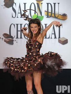 Marie-Ange Casalta wears a creation made with chocolate during a fashion show at the inauguration of the 19th annual Salon du Chocolat in Paris on October 29, 2013. Description from upi.com. I searched for this on bing.com/images