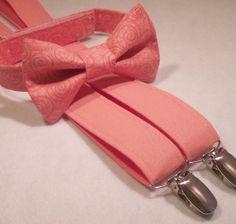 Coral Bow Tie and Suspenders: Boys Suspenders, Toddler Suspender Set, Baby Suspenders, Wedding, Ring Bearer, Salmon, Peach, Coral Reef