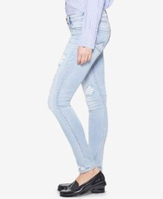 Silver Jeans Co. Tuesday Ripped Super-Skinny Jeans - Blue 27