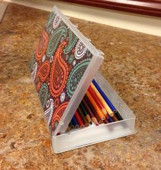 Great recycle project from Rogers. Turn old VHS cases into pencil boxes. Great idea!