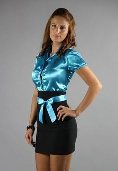 Born for male gratification 😍 - Frauenbilder - Women in Uniform Satin Top, Blue Satin, Silk Satin, Sexy Blouse, Blouse And Skirt, Sexy Outfits, Fashion Outfits, Womens Fashion, Fashion Goth