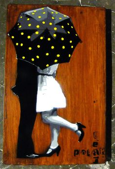 Saatchi Online Artist: PolarBear Stencils; Paint, 2013, Street Art Lovers under umbrella
