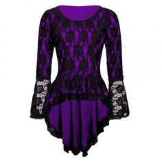 Elaine Top - Purple Lace   Model VG-16225-US-4  Condition New  Gothic fashion's elegance brings out an out of world level of sophistication in clothing; and this is reflected on this inspired top!