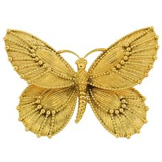 this would be so pretty as a hair pin. VAN CLEEF & ARPELS Yellow Gold Butterfly Pin  France  Circa 1970's  Lovely yellow gold pin created by Van Cleef & Arpels in France in the 1970's.