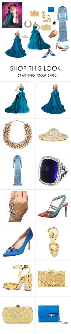 """Arabian nights...."" by athinakarayiannide ❤ liked on Polyvore featuring Monique Lhuillier, Disney, Valentino, David Yurman, Manolo Blahnik, Dolce&Gabbana, Charlotte Olympia and Gucci"