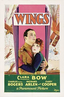 "Wings is a 1927 silent film about two World War I fighter pilot friends, both involved with the same beauty, produced by Lucien Hubbard, directed by William A. Wellman and released by Paramount Pictures. Wings was the first film to win the Academy Award for Best Picture, and the only true silent films to do so Wings stars Clara Bow, Charles ""Buddy"" Rogers, and Richard Arlen."