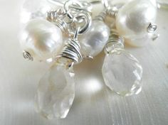 Silver Bridal Earrings,  November Birthstone Rough Finished Citrine and Pearls Cluster Earrings, Holiday Gift, HOLIDAY SALE