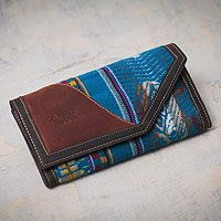 Leather wallet, 'Hummingbird Messenger' - Blue Woven Wallet for Women with Leather from Peru