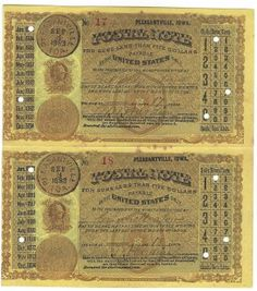 Pleasantville, IA 1883 Uncut Pair of Postal Notes #17 & #18 Issued for 17 cents & 18 cents; payable at Fort Dodge & Grinnell, IA