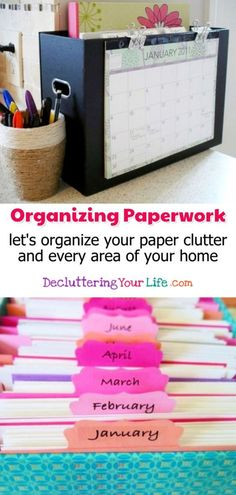 Home Organization Hacks for Organizing Paperwork and paper clutter organization. Eliminate paper clutter with these paper clutter solutions and desk organization tips. Home DIY organization ideas and clutter organization ideas to declutter your home. Organisation Hacks, Organizing Hacks, Organizing Paperwork, Clutter Organization, Home Office Organization, Organizing Your Home, Diy Hacks, Decluttering Ideas, Organizing Paper Clutter