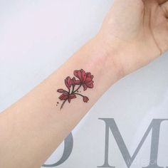 Geraniums for tattoos Red Flower Tattoos, Red Tattoos, Flower Tattoo Back, Cover Up Tattoos, Flower Tattoo Designs, Love Tattoos, Cousin Tattoos, Girls With Sleeve Tattoos, Tattoos For Women