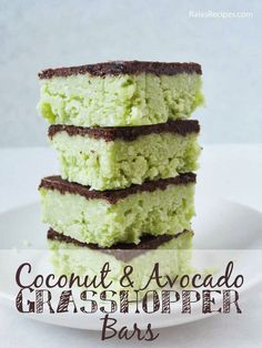 Paleo Coconut & Avocado Grasshopper Bars by Raia's Recipes