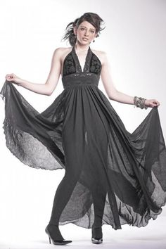 black chiffon velvet and lace evening gown