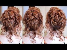 Вечерняя причёска с валиком - средняя длина волос - YouTube