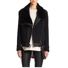 """Helmut Lang NWT shearling wool jacket $1395 Small NWT Helmut Lang shearling collar black wool jacket. Dyed shearling, 80% wool and leather details. Laying flat - Shoulder 16"""", bust 20"""" length 24"""" retail price $1395. No low balling/ NO TRADE Helmut Lang Jackets & Coats"""
