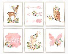 Woodland Nursery Decor, Girl Woodland Nursery, Woodland Nursery Girl, Woodland Nursery, Watercolor Nursery Art, Woodland Animals Nursery Art