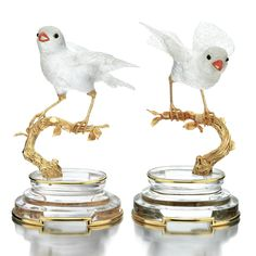 PAIR OF CORAL, ROCK CRYSTAL, ONYX AND YELLOW GOLD BIRD TABLE ORNAMENTS, BOUCHERON, 1980S
