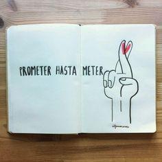 Alfonso Casas publica a diario en su instagram una foto de su cuaderno con su particular versión del amor, una frase lapidaria y una ilustración bicolor con trazo negro y la potencia del rojo para fondos y detalles.