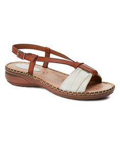 Cream Color Block Leather Sandal #zulily #zulilyfinds