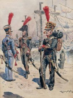 Fucilieri di marina della guardia imperiale francese Military Art, Military History, Military Uniforms, Marine Francaise, First French Empire, Seven Years' War, Age Of Empires, Naval History, French Army
