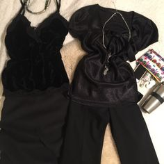 Bundle of 4 Workweek Essentials black velvet camisole with lace edges, sz L    black pencil skirt (info in another listing)         short sleeve blouse with bow (info in another listing)                                                         black slacks (tiny hole in fabric)(more info in other listing)                                                        pre-loved, great conditionboost your work wardrobefast replies & shipping lets make a deal Express Pants Trousers