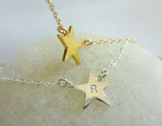 Sideways star initial necklace-initial star necklace-tiny/small/sideways star necklace-dainty/gold/star charm necklace-personalized star