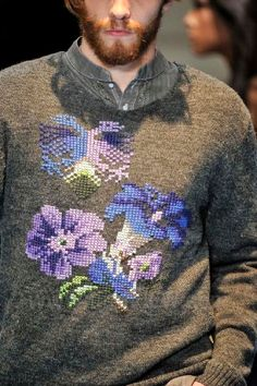 Cavalera A / W Sao Paolo Fashion Week_ cross stitch on knit Folk Embroidery, Floral Embroidery, Cross Stitch Embroidery, Embroidery Patterns, Knitting Patterns, Textiles, Broderie Simple, Art Textile, Estilo Fashion