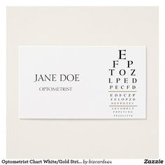 Physician doctor stethoscope folded business business card optometrist chart whitegold stripes business card reheart Images
