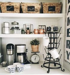 I Spy Antique Farmhouse products in Modern Farmhouse for a Modern Family's Coffee Bar! Coffee Nook, Coffee Bar Home, Coffee Bars, Coffee Shops, Coffee Coffee, Kitchen Dining, Kitchen Decor, Bar Kitchen, Kitchen Storage