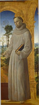 Foppa, Vincenzo,      Lombard, c. 1430 - 1515/1516  Saint Anthony of Padua      c. 1495/1500      oil (?) on panel      overall: 149 x 56.5 cm (58 11/16 x 22 1/4 in.)      framed: 171.5 x 80 x 8.6 cm (67 1/2 x 31 1/2 x 3 3/8 in.)      Samuel H. Kress Collection      1952.5.63