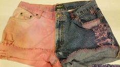 High Waisted Shorts: Half & Half   Tie Dye  by DirtySouthVintagee