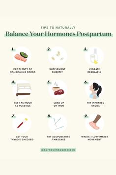 9 tips to naturally help postpartum hormone balance. Fertility Food For Women, Fertility Foods, Women's Health, Health Tips, Balanced Meal Plan, Seed Cycling, Estrogen Dominance, Postpartum Care, Postpartum Depression