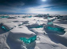 Turquoise Ice at Northern Lake Baikal, Russia