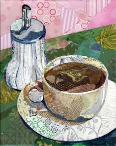 Cafe Series ~ by Wanda of weDesigns. Torn paper collage #art_journal