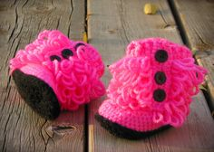 Hot Pink and Black Furry Baby Boots by YellowTrunkDesigns on Etsy, $18.00