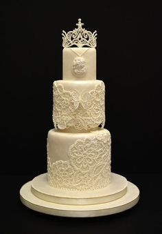 """The Bride Wedding Cake"" ... laces and tiara piped with Royal Icing to create a wedding cake in the appearance of a bride's wedding dress    -- kelvin chua"