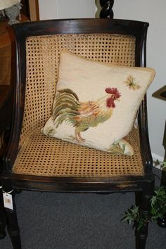 Rooster Needlepoint Pillow