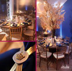 festa azul e dourada
