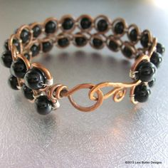 Black Jade Copper  Wire Looped Bangle. MEMBER - Lexi Butler Designs