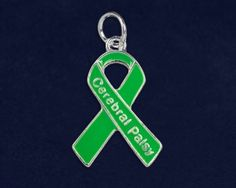 Cerebral Palsy Green Ribbon Charms. These charms are approximately 3/4 inch tall. Packaged 10 charms per pack. Product Code: C-29-13CP