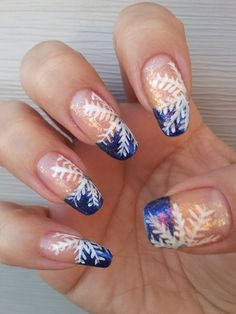 snowflakes christmas nail designs | Blue Tips with Snowflake - CoolNailsArt