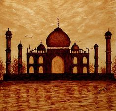 """Taj Mahal Lovers Dream"" - Georgeta Blanaru coffee painting. """