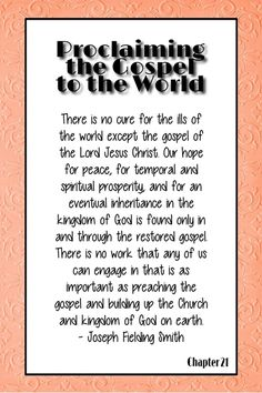 Joseph F Smith handout: Chapter Proclaiming the Gospel to the World Visiting Teaching, Relief Society, Church Ideas, Inspirational Message, Lds, Jesus Christ, Chile, Joseph, Quotations